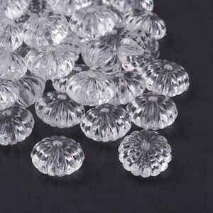 620pc/500g White Transparent Acrylic Pumpkin Beads Frosted Loose Spacer 14x9.4mm