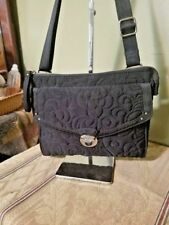 Vera Bradley Black Crossbody Messenger  Quilted Microfiber Purse Handbag