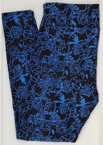 TC LuLaRoe Tall & Curvy Leggings Pretty Blue on Black Flowers NWT E83
