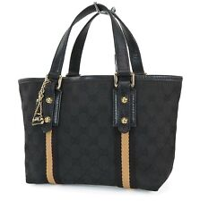 Authentic GUCCI Black GG Canvas and Leather Small Tote Hand Bag Purse #38181