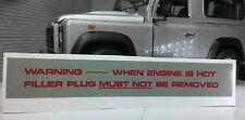 RANGE ROVER DISCOVERY 200TDI 2.0 V8 Kühler Aufkleber Label Warnung Stecker