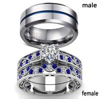 2 Rings Couple Rings Stainless Steel Heart cut Sapphire CZ Women's Wedding Ring