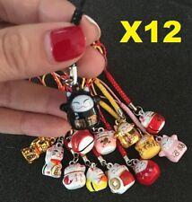 X12 Random Fortune Lucky Beckoning Cat Maneki Neko Keyring Keychain Key Rings