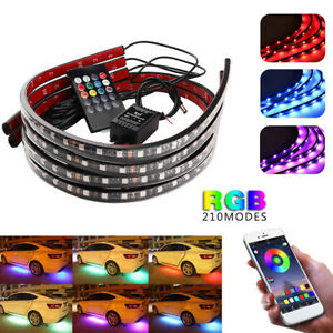 4Pcs 5050 LED Car Strip Light Bluetooth Control RGB Color Music Car Strip Light