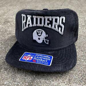 Vintage New Era NFL Oakland Vegas LA Raiders Corduroy Snapback Hat NWA Black