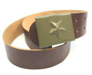 CZECH ARMY BROWN LEATHER BELT & BUCKLE