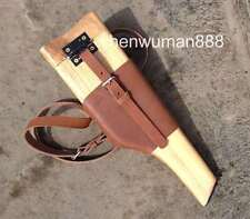 WWII 2 GERMAN MAUSER BROOMHANDLE LEATHER HOLSTER AND WOOD STOCK HANDMADE