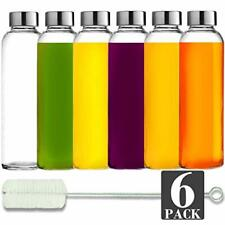Brieftons Glass Water Bottles: 6 Pack, 18 Oz, Stainless Steel 18 oz, Clear
