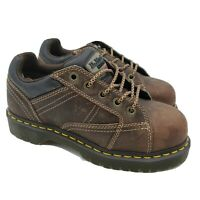 Dr Doc Martens Steel Safety Toe Brown Leather Boots Mens Size 6 Womens 7