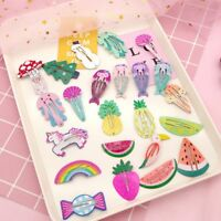 6pcs/set Cartoon Fruit Pineapple Hairpin BB Clip Girls Mermaid Rainbow Hair Clip