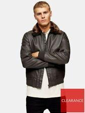 TOPMAN Fur Collar Faux Leather Flight Jacket Medium Mens