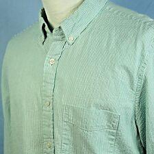 J. Crew Seersucker Slim Fit Turquoise White Stripe Shirt Long Sleeve Mens L EXC
