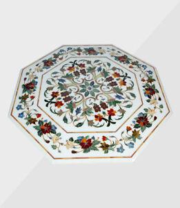 "48"" Marble Table Top Handmade Semi precious stones Work Home / Office Decor"