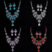 Necklace Earrings Set Fashion Crystal Pendant Bib Choker Chain Statement Jewelry