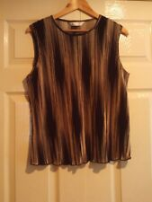 BHS Black & Cream Stripy Sleeveless Top size 18 bust 40 inches used once Ex Con.