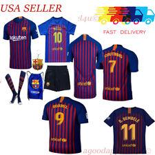 Barcelona Messi Suarez Coutinho Dembele Iniesta Kids Jersey Kit Age 5-13 Yrs