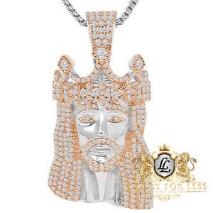 36+ Grams Big 2.25'' Genuine Silver 14K Gold Over Jesus Face Crown Charm Pendent