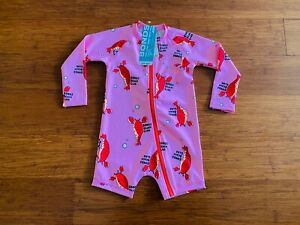 Bonds Baby Girl Long Zippy Swimsuit Pink Red Lobster Size 2 BNWT