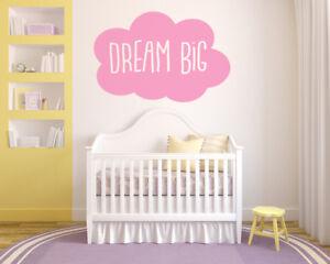 Dream Big, Cloud, Wall Art Sticker, Mural, Decal. Bedroom, Nursery, Children