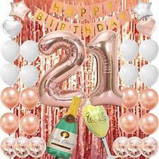 Decoracion De 21 Años Para Cumpleaños Globos Confeti Numeros Rose Gold Set Niña