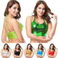 Women's Shiny Metallic Vest Rave Clubwear Crop Top Bralette Dance Tank Tops Cami