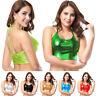 Women's Shiny Metallic Vest Rave Clubwear Crop Top Bralette Dance Tank Tops Cami