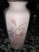 PINK FLORAL VASE FROM JAPAN Pink Purples Flowers Octagon Gold Trim