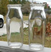 Vintage Set of Two Half Pint Milk / Cream Bottles