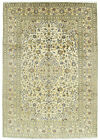 Vintage Persìan Kashàn Rug 8'x11'  Ivory Wool Floral Hand-Knotted Oriental Rug