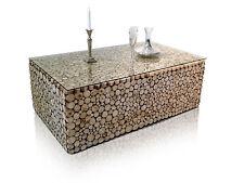 Designer TEAK Couchtisch aus Teakholz Aststücken Holztisch UNIKAT 120x70 cm