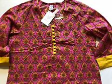 KURTI Kurta Kameez INDIA-NEW-SZ L-COTTON-PINK YELLOW FLORAL/ BUTTONS -USA SELLER