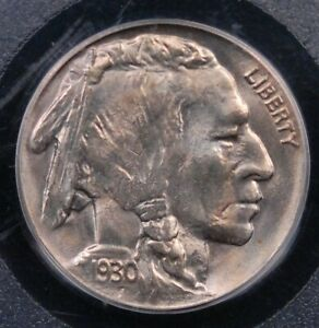 1930 BUFFALO NICKEL PCGS MS 64 CRISP WHITE LUSTER WITH THE FAINTEST BLUSH NICE