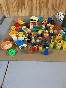 Vintage Lot of 63 Fisher Price Little People Sesame Street Figurines Accessories