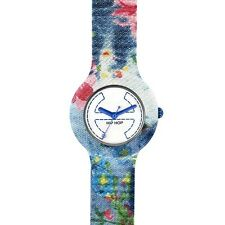 HIP HOP Jeans flowers OROLOGIO blu fiori HWU0405 WATCH SMALL CASSA 32 MM