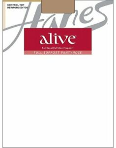 Hanes Alive Pantyhose Full Support Control Top Reinforced Toe Silky Sheer sz A-F