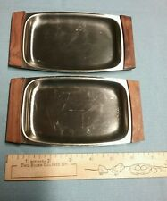 Pair of vintage stainless steel serving trays by Imperial