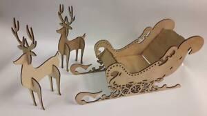 Santa sleigh & reindeer  Bespoke Christmas decos ready to assemble & decorate