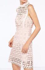 New $570 Sandro Paris Geometric Lace Pink Crochet Dress Medium / US 6 8 / SZ 3