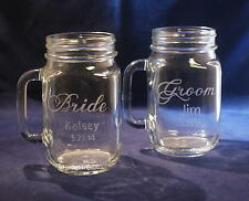 2 Personalized Bride and Groom Mason Jar Mugs with Handles