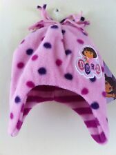 Bnwt New Baby Girls Pink Dora The Explorer Winter Fleece Hat Age 12 18 24 Months