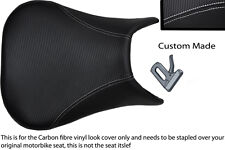 white stitch CUSTOM 99-02 FITS YAMAHA 600 YZF R6 CARBON FIBER VINYL SEAT COVER