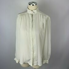Vintage Gailord sz 12 White Blouse Career Vtg Pleated High Neck