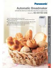 Panasonic SD256 SD257 Bread Machine Owners Manual User Guide Recipe Copy Reprint