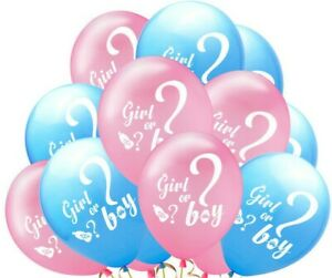 10x Pink/Blue Girl Or Boy Baby Shower Gender Reveal Party Latex Printed Balloons