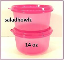 TUPPERWARE 14 oz SERVING CENTER BOWLS Set 2 in FUCHSIA KISS Snack Cups Pink Bowl