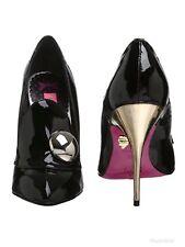 New Betsey Johnson Women Nyla Black Patent Leather Pump Heel 4 uk/7 us/37 UE