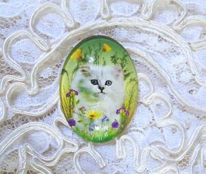 White Cat Wildflowers 30X40mm Glitter Unset Handmade Glass Art Bubble Cameo Cab