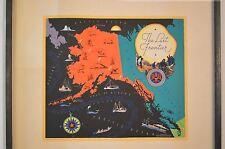 "Vintage 1935 Original Mid Century Pictorial Map of Alaska, ""The Last Frontier"""
