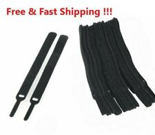 "15 VELCR Brand Ties Cable Cord Organizer Wraps Reusable Die Cut Straps 6"" Black"