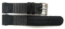 19MM BLACK GRAY NYLON LEATHER WATCH BAND STRAP SWISS ARMY 24220 24221 & 24378